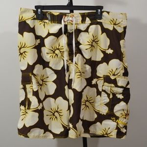 Kirra Size 38 Swim Trunks Shorts Brown Floral No L
